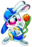 Lebre com uma flor. Imagem de Stock Royalty Free