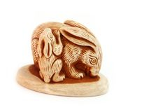 Lebre do netsuke do shui de Feng fotos de stock