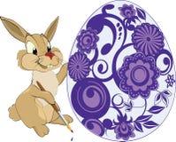 Lebre e um ovo de Easter. Desenhos animados Imagem de Stock