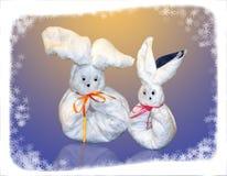 Lebres bonitas feitas de uma toalha macia Imagem de Stock