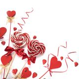 Lecca-lecca del cuore su bianco Fotografia Stock Libera da Diritti