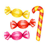 Lecca-lecca delle caramelle Illustrazione dell'acquerello Fotografia Stock
