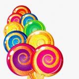 Lecca-lecca variopinte dell'acquerello su fondo bianco Sedere dolci dell'alimento Fotografie Stock Libere da Diritti