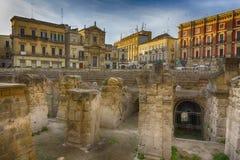 Lecce, руины римского амфитеатра Стоковое Фото