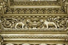 Lecce, церковь детали барочная святого креста Стоковое Фото