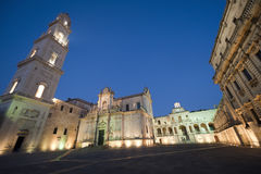 Lecce (Apulia, Italy): The main square at evening Stock Photo