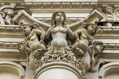 Lecce, baroque church of the Holy Cross, capital decoration. Church of the Holy Cross in Lecce, Basilica di Santa Croce, capital decoration Royalty Free Stock Photo
