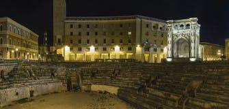 Lecce dell'arena di notte fotografie stock libere da diritti