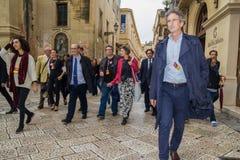 Lecce 2019 della Commissione Europea di perrone di sindaco Paolo Fotografia Stock Libera da Diritti
