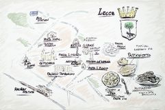 Lecce doodle map royalty free stock images