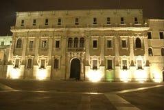Lecce entro la notte, cattedrale immagini stock libere da diritti