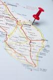 Lecce Italie sur une carte Images stock