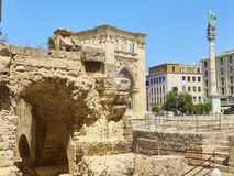 Roman Amphitheatre in Piazza Santo Oronzo square. Lecce, Italy. Royalty Free Stock Image
