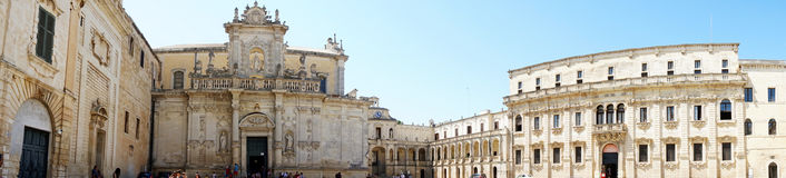 LECCE, ITALY - AUGUST 2, 2017: Panoramic view of Piazza del Duomo square with Lecce Cathedral and Museo diocesano d`arte sacra mus Royalty Free Stock Image