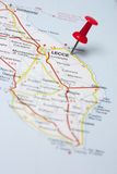 Lecce Italy On A Map. Closeup of Lecce Italy On A Map Stock Images