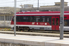 LECCE, ITALY - MAY 2016: A local train (Ferrovie del Sud Est - FSE) stop in the railway station of Lecce Stock Photography