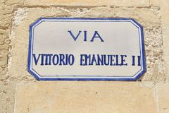 Lecce, Italy. Via Vittorio Emanuele II street sign Stock Images