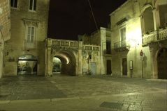 Lecce by night, arco di Prato. Square Royalty Free Stock Images
