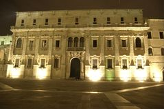 Lecce by night, cathedral. Italian barocco Royalty Free Stock Images