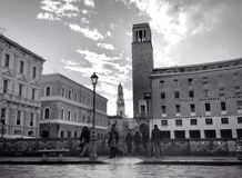 Lecce. Piazza sant'oronzo Salento b&w campanile Royalty Free Stock Photography