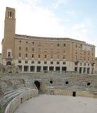 Lecce roman amfiteater Arkivbilder