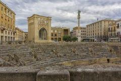 Lecce, Roman amphitheater. Saint Oronzo square of Lecce, the ruins of Roman amphitheater Stock Photos