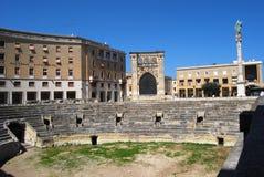 Lecce, roman amphitheatre. Saint Oronzo square in Lecce with amphitheatre Royalty Free Stock Photos