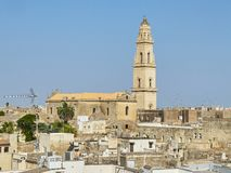 Cattedrale metropolitana di Santa Maria Assunta cathedral of Lecce. Puglia, Italy. Lecce rooftop view with the Bell tower of Cattedrale metropolitana di Santa Royalty Free Stock Image