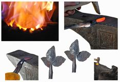 Lección de Blacksmithing paso a paso fotografía de archivo libre de regalías