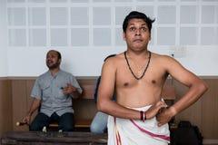 Lección de danza india clásica de Kathakali en collage del arte en la India Foto de archivo