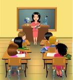 Lección de enseñanza en sala de clase stock de ilustración