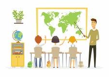 Lección de la geografía en la escuela - ejemplo moderno de los caracteres de la gente de la historieta ilustración del vector