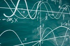 Lección de la matemáticas de la escuela trigonometría Gráficos de la función de la pizarra fotografía de archivo