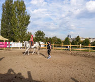 Lección de montar a caballo Imágenes de archivo libres de regalías