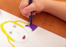 Lección del dibujo en guardería Foto de archivo libre de regalías