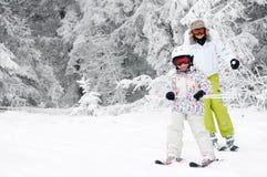 Lección del esquí Foto de archivo libre de regalías