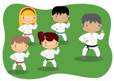 Lección del karate de los niños Imagen de archivo libre de regalías