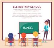 Lección elemental en la escuela Los niños se sientan en el escritorio ilustración del vector