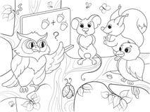 Lección en la escuela de un búho en el libro de colorear de maderas para el ejemplo del vector de la historieta de los niños Fotografía de archivo libre de regalías
