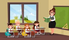lección Un profesor con los alumnos en sala de clase de la escuela primaria Vecto Ilustración del Vector