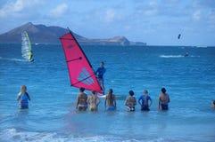 Lección Windsurfing Fotos de archivo libres de regalías
