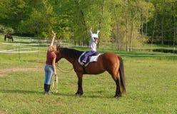 Lección de la equitación Foto de archivo libre de regalías