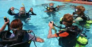 Lección del buceo con escafandra Imagen de archivo