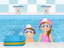 Lecciones de la nadada para los niños stock de ilustración
