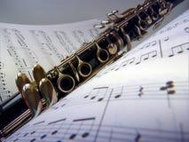 Lecciones de música en el clarinete fotos de archivo