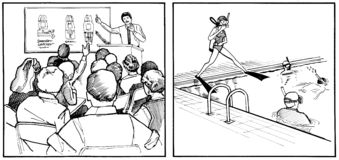 Lecciones del equipo de submarinismo - piscina y clase Imagen de archivo