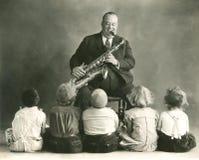 Lecciones del saxofón Imágenes de archivo libres de regalías