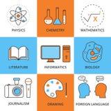 Lecciones lineares de la escuela del icono del vector común Stock de ilustración