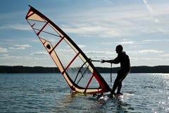 Lecciones Windsurfing Imágenes de archivo libres de regalías