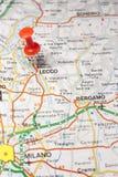 Lecco fijó en un mapa de Italia Imagen de archivo libre de regalías